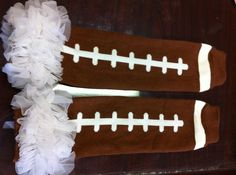 Football leggings with ruffles by RedDIrtBabies on Etsy, $6.50. Like us on Facebook