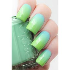 What I'm Wearing Now Essie Blue-Green Gradient The Nail Polish Project ❤ liked on Polyvore featuring beauty products, nail care, nail polish, nails, makeup, essie nail polish, essie, shiny nail polish and essie nail color