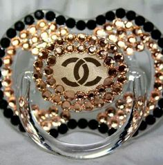 Chanel style baby bling fashion pacifier GlamLuxePartyDecor: FREE SHIPPING! Creative, Unique, Personalized Glamorous Designer Party Decorations and keepsakes. Theme party Decor packages. 1st Birthday parties, pink princess tutu, weddings, christenings, holiday celebration, bridal shower, babyshower, bachelorette, Super Bowl, etc. #jacquelineK