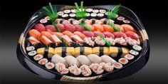 TAKARA - 80 pièces pour 9-10 pers - 50x nigiri: crevette, sériole, omelette, saumon, thon, chair de crabe, cocktail de crevettes, oeufs poisson volant 30x maki: concombre, saumon, avocat-saumon Bento, Omelette, User Interface, 9 And 10, Acai Bowl, Sushi, Breakfast, Prawn Cocktail, Crab Meat