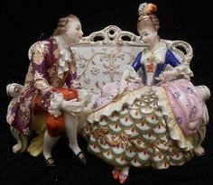 Hochst~RARE VINTAGE DRESDEN STYLE COURTING COUPLE GROUPING FIGURINE~Germany