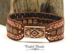 COPPER LEATHER WRAP Bracelet-Half Tila-Czechmate Tiles-Bohemian-Boho Leather Wrap-Hippie-Leather Cuff-Tribal Leather Cuff-Southwestern(SW29) by CinfulBeadCreations on Etsy