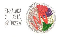 Ensalada de pasta estilo pizza | Food Blogging Recetas Cocina Creativa Cocina Saludable Ilustración de comida Food Illustration