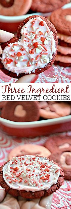 Three Ingredient Red Velvet Cookies at the36thavenue.com