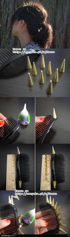 DIY tutorial - studded haircomb, from http://zszywka.pl/p/diy-handmade-pomysly-271289.html.  ♥
