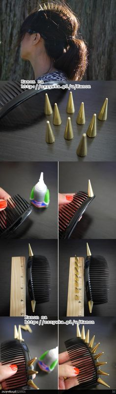 DIY tutorial - studded haircomb, from http://zszywka.pl/p/diy-handmade-pomysly-271289.html. ♥