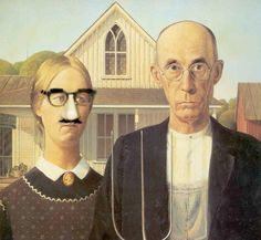 american gothic funny - Google Search American Gothic House, American Gothic Parody, American Art, Mona Friends, Grant Wood, Art Institute Of Chicago, Renaissance Art, Grumpy Cat