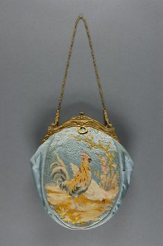 Bag Artist/maker unknown, Austrian Geography: Made in Vienna, Austria, Europe Date: c. 1920 Medium: Embroidered silk faille, gilt metal frame and link chain Vintage Purses, Vintage Bags, Vintage Handbags, Vintage Outfits, Vintage Jewelry, Beaded Purses, Beaded Bags, Philadelphia Museum Of Art, Small Handbags
