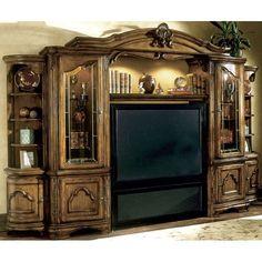 AICO Tuscano Entertainment Wall by Michael Amini Dream Furniture, Furniture Decor, Furniture Design, Tuscan Furniture, Furniture Styles, Wall Entertainment Center, Entertainment Furniture, Entertainment Units, Tuscany Decor