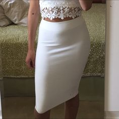 White high waisted midi bandage skirt New never worn, bought from a local boutique. Im 5'5 if you need reference on length, fits below knees. NO TRADES. ✨Bundle To Save✨ Skirts Midi