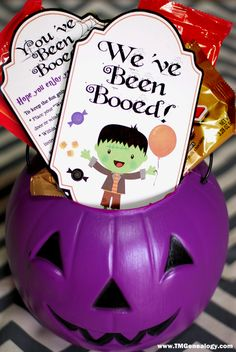"""The note that says """"You've Been Booed"""", with the instructions to """"Boo"""" two other houses who don't have signs in their window.  The adorable We've Been Booed sign  is for their window or door. See how far the fun spreads!"""