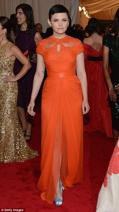 Orange dress & Silver pumps! Fierce! Ginnifer Goodwin 2012 Met Gala
