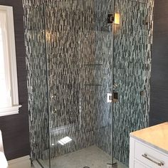 Custom 3-Hinged Glass Shower Doors With Polished Nickel Hardware - installation today... #customglass #customshowerdoors #framelessglass #framelessshower #customenclosures #polishednickel