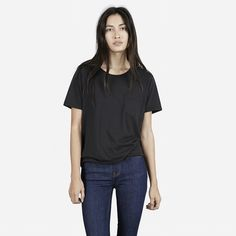 If I could have a love affair with a t-shirt...   The Box Cut Tee - Muted Black - Everlane