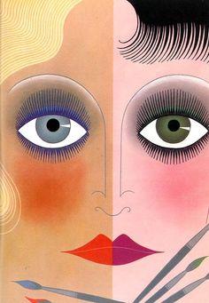 The Janus Face - illustration by Erté, 1968