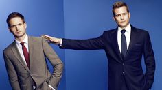 "USA CORPORATE -- ""USA Network Upfront 2013 Talent Portraits"" -- Pictured: (l-r) Patrick J. Adams and Gabriel Macht from Suits -- (Photo by: Jill Greenberg/USA Network)"