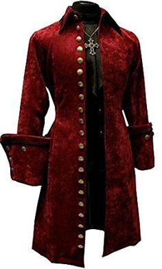 Men's Historical French Aristocrat Admiral Pirate Captain Burgandy Velvet Co. Men's Historical French Aristocrat Admiral Pirate Captain Burgandy Velvet Coat with Brass Buttons by Shrine of Hollywood Couple Halloween Costumes For Adults, Teen Costumes, Woman Costumes, Pirate Costumes, Couple Costumes, Group Costumes, Grease Costumes, Princess Costumes, Pirate Fashion