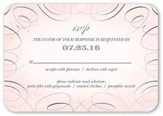 Joyous Flourish Wedding Response Card, Rounded Corners, Pink