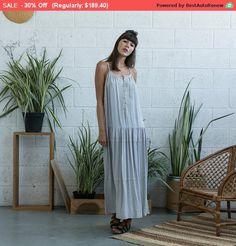 L'été vente brodé robe Maxi, argent Maxi robe argent Boho robe, robe débardeur.