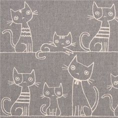 grey brushed Canvas cat fabric by Kokka from Japan