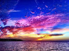 Beautiful sunset over the Gandy Bridge in Tampa, FL