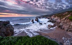 Download wallpapers ocean, rocky coast, big waves, coast, beach
