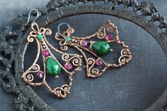 Wire wrapped copper earrings with emerald  and by SabiKrabi, $65.00