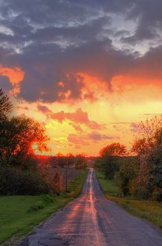 Summer Sunset In Farm Roads, Upstate New York
