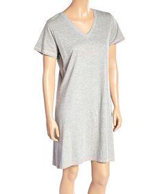 Gray 'Infinity Love' V-Neck Sleep Lounge Dress  - Plus