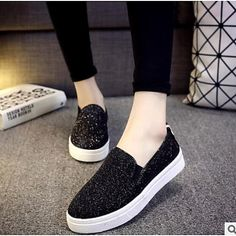 Women's Shoes PU Spring Comfort Loafers & Slip-Ons Flat Closed Toe for Casual Silver Black - USD $16.99 ! HOT Product! A hot product at an incredible low price is now on sale! Come check it out along with other items like this. Get great discounts, earn Rewards and much more each time you shop with us!