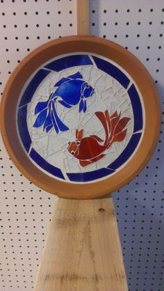 2 Fish Birdbath .  These birdbaths with glass can be customized with different themes and designs.