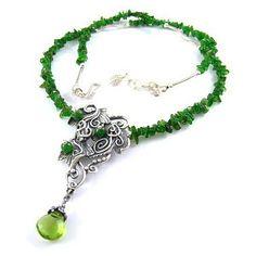 Srebrny Kot - necklace 'Diopside Ivy' - art clay silver