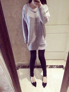 Купить FR Drop-плечо мохер Длинный свитер | YesStyle