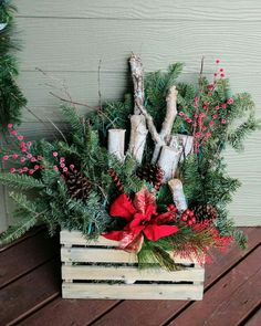 Christmas crate lighted birch bark and Noble fur branches Christmas Front Doors, Christmas Frames, Christmas Porch, Christmas Holidays, Outdoor Christmas Planters, Outdoor Christmas Decorations, Woodland Christmas, Rustic Christmas, Birch Centerpieces