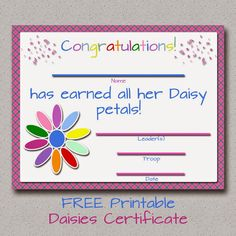 Fashionable Moms: Girl Scouts: FREE Printable Daisy Petals Certifica...