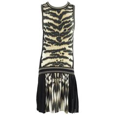 Roberto Cavalli Animal Print and Black Knit Dress - M   From a collection of rare vintage day dresses at https://www.1stdibs.com/fashion/clothing/day-dresses/