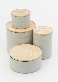 Riess Forever Stackable Kitchen Canister. These stackable enamel-coated steel canisters come from 400-year-old, family-owned brand RIESS of Austria. With clean lines, strong colors, and clever ash wood lids, they are amazingly versatile and last forever.