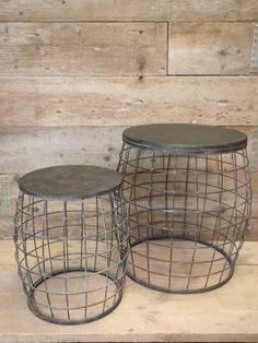 draadmand tafel bijzettafel zwart met grijs en een