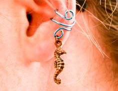 Copper Seahorse Ear Cuff
