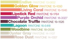 Pantone with Colored Text fashion, color palettes, wedding blog, fall weddings, wedding colours, chocolate truffles, fall wedding colors, pantone, color themes