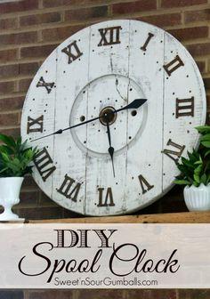 DIY Large Wood Spool Clock Tutorial