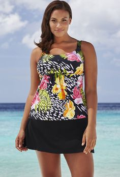 637ac66ddd0a3 Beach Belle Texas Rose Flared Skirtini Swimsuits For All
