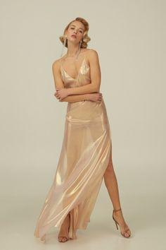 fc91bdc48 Rose Gold Silk Boudoir Dress with Open Back