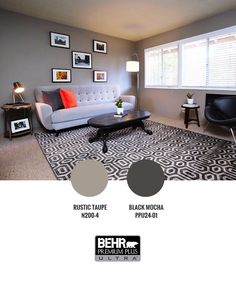 From the gray colored walls to the patterned carpet, the room really shouts sleek and sophisticated. Adding the pop of color with the throw pillow, gives you a bit of fun. #LaughDancePartner