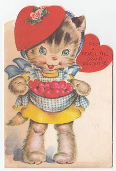 Vintage Greeting Card Valentine's Day Cat Cute 1940s Rust Craft J396 | eBay