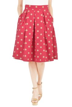 Polka dot print enhances the feminine appeal of our voluminous full skirt, shaped with bold box pleats that flare from the banded waist to the kicky hem.