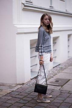 ***My white jeans with grey pumps *** Cecilie Copenhagen & Céline Trio Bag |