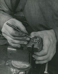Margaret de Patta working on brooch in her San Francisco studio 1941