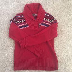 Ralph Lauren Fair Isle Sweater Red Lauren Ralph Lauren Fair Isle Sweater with Toggle Neck. Great condition. 100% cotton. Also available in black. Ralph Lauren Sweaters