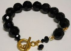 Black Bead and Gold Link Bracelet with Single Bead by LinksLocks, $20.00